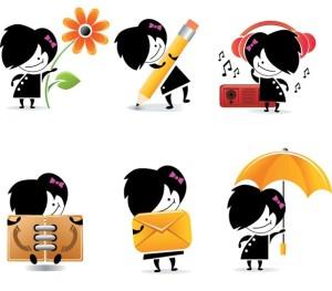 6-cute-cartoon-girl-web-icons-vector-set-